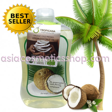 Coconut oil is 100% cold pressed Tropicana, 1 liter